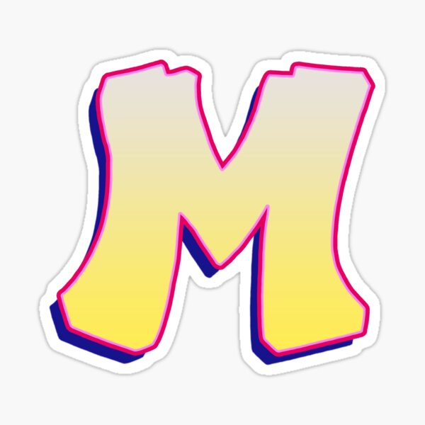 Letter M - Yellow/Pink Sticker