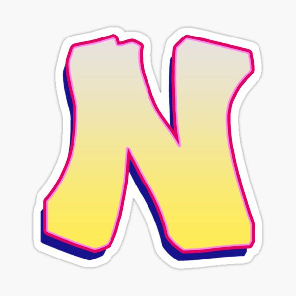 Letter N - Yellow/Pink Sticker