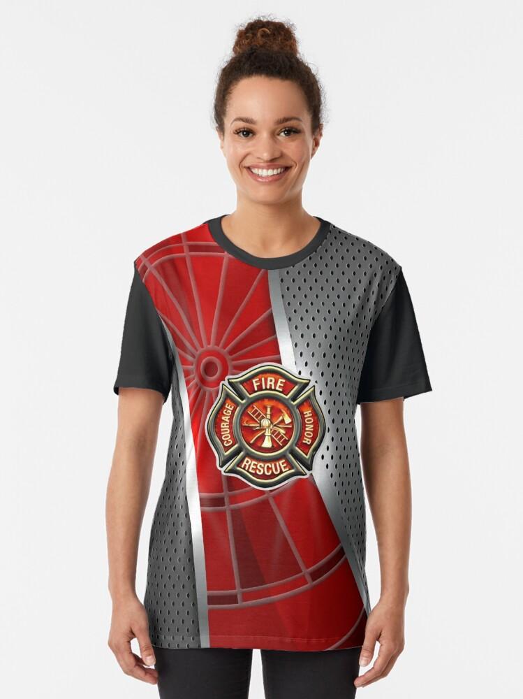 Alternate view of Firefighter Darts Shirt Graphic T-Shirt