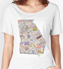 Camiseta ancha Mapa de la música de Georgia