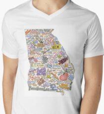Georgia Musik Karte T-Shirt mit V-Ausschnitt