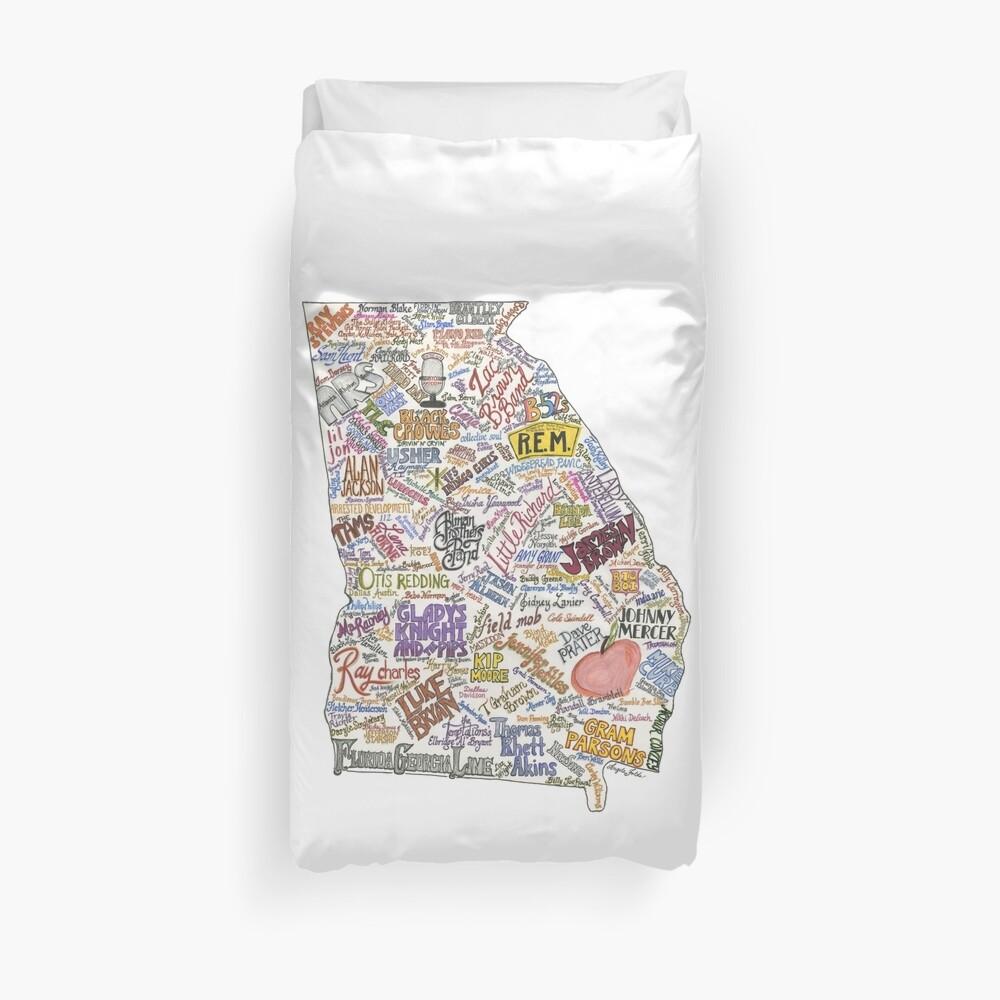 Georgia Musik Karte Bettbezug