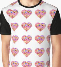 Pink and Red Emoji Hearts Graphic T-Shirt