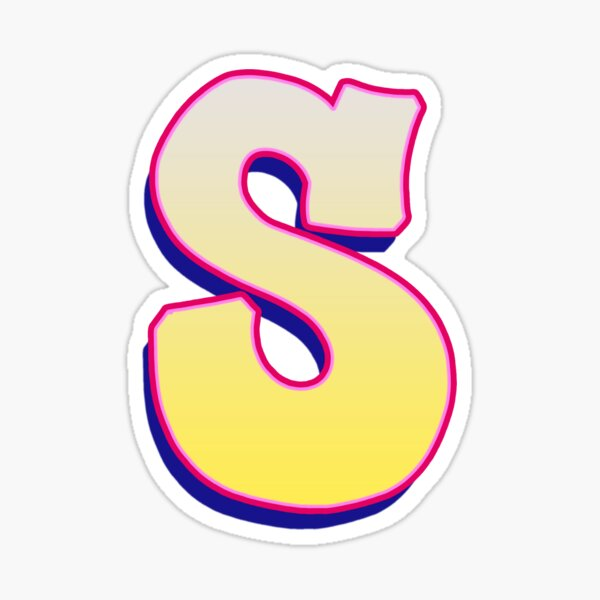 Letter S - Yellow/Pink Sticker