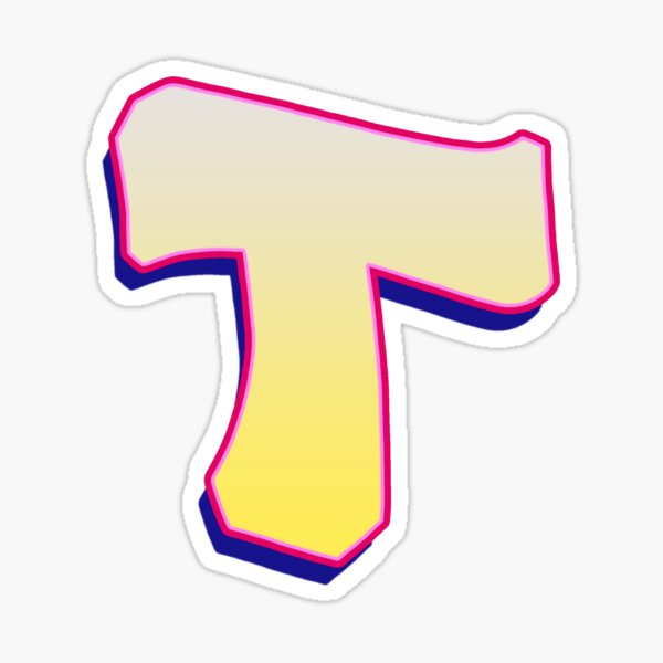 Letter T - Yellow/Pink Sticker