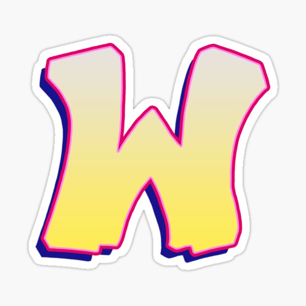 Letter W - Yellow/Pink Sticker