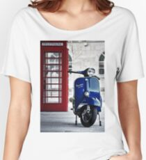 Italian Blue Vespa Rally 200 Scooter Women's Relaxed Fit T-Shirt