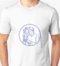 Landvermesser Theodolit Circle Mono Line Unisex T-Shirt
