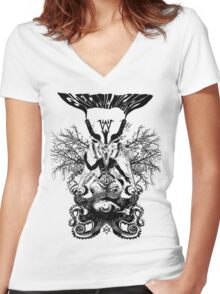 Electric Wizard - Baphomet (Black) Women's Fitted V-Neck T-Shirt