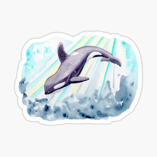 Orca diving through sunbeams in the ocean Sticker