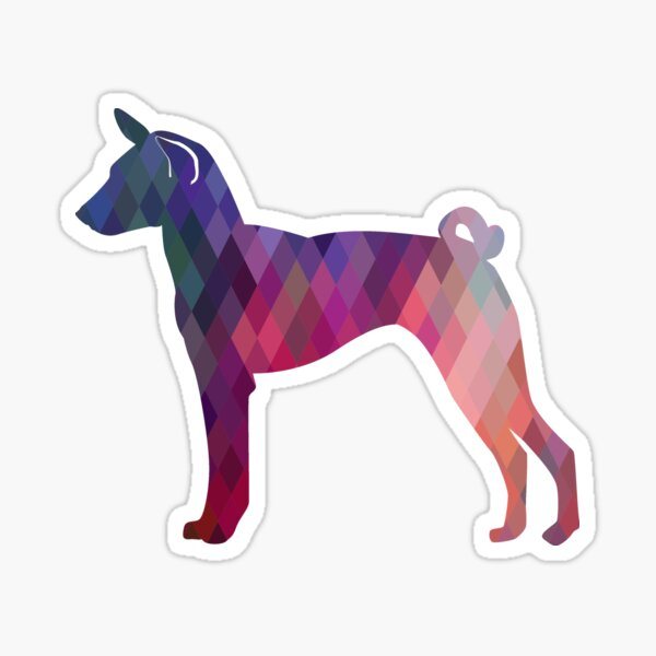 Basenji Dog Breed Colorful Geometric Pattern - Pink Sticker