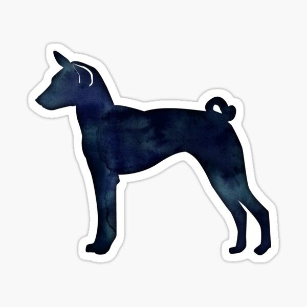 Basenji Dog Breed Black Watercolor Silhouette Sticker