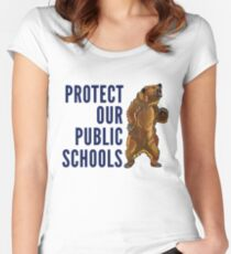Protect Our Public Schools - Grizzly Bear Image Women's Fitted Scoop T-Shirt