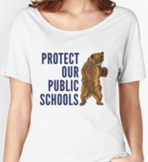 Protect Our Public Schools - Grizzly Bear Image Women's Relaxed Fit T-Shirt