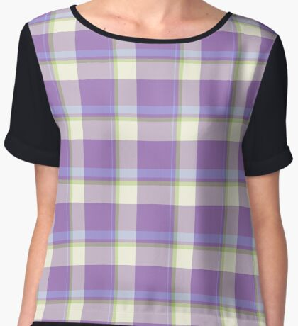 Lavender Tartan Design by Julie Everhart Women's Chiffon Top
