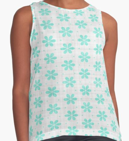 Turquoise  Flower Design by Julie Everhart Sleeveless Top