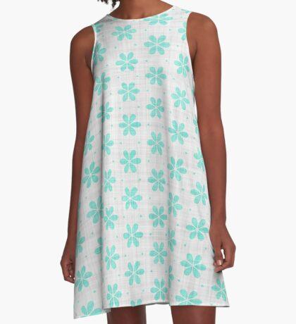 Turquoise  Flower Design by Julie Everhart A-Line Dress