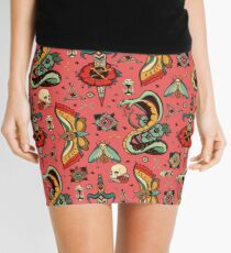 Pink Flash Tattoo Pattern Mini Skirt
