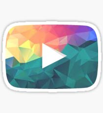 Low Poly Rainbow Play Button Sticker