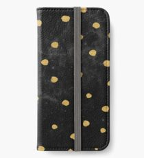 Galaxy Space Pattern - Gold Dots on Black Stars iPhone Wallet/Case/Skin