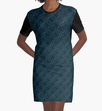 Teal & Black Swirl Graphic T-Shirt Dress