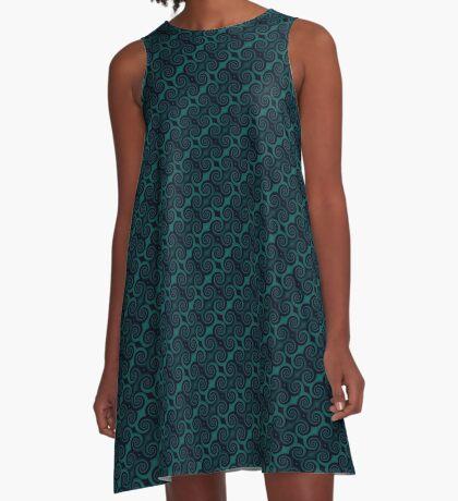 Teal & Black Swirl A-Line Dress
