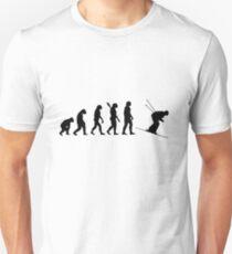 Human evolution of skiing man Unisex T-Shirt