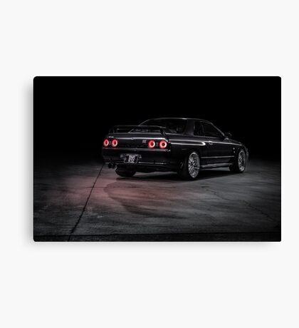 Black R32 Nissan Skyline GTR - Lightpainted Canvas Print