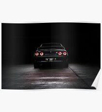 Black R32 Nissan Skyline GTR - Rear Lightpainted Poster