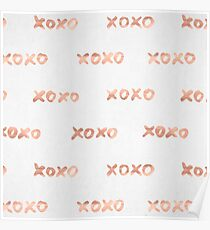 Valentines Day Rose Gold Words - XOXO Poster