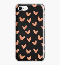 Valentines Day - Rose Gold Hearts on Black Background - Romantic Design iPhone Case/Skin