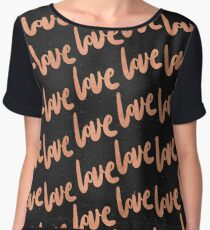Valentines Day Rose Gold Love Word Typography Pattern on Black Chiffon Top