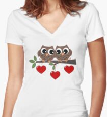 2 Owls My Valentine Day Women's Fitted V-Neck T-Shirt