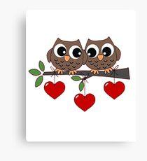 2 Owls My Valentine Day Canvas Print