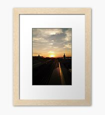 Sunset Photo Chicago CTA Green Line Photo Framed Print