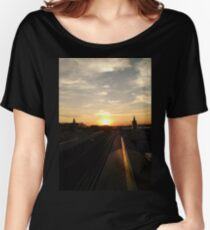 Sunset Photo Chicago CTA Green Line Photo Women's Relaxed Fit T-Shirt