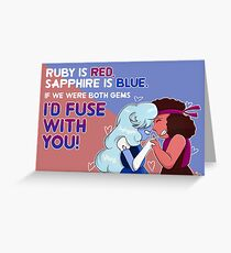 Steven Universe Ruby and Sapphire Valentine Greeting Card