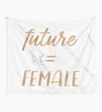 The Future is Female Text - Copper Bronze Gold Typography Quote Wall Tapestry