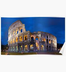 Colosseum At Night Poster