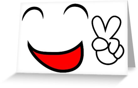 Emoticon Smiling Face Showing Peace Sign Greeting Cards By Pixxart