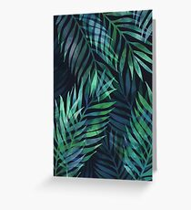 Dark green palms leaves pattern Greeting Card