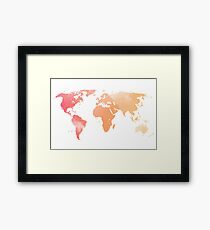 Watercolour Map of the World Framed Print