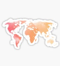 Watercolour Map of the World Sticker