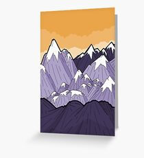 Mountains under the orange sky  Greeting Card