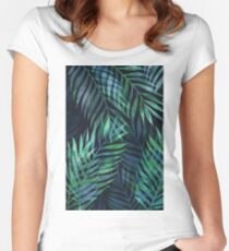 Dark green palms leaves pattern Women's Fitted Scoop T-Shirt