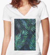 Dark green palms leaves pattern Fitted V-Neck T-Shirt