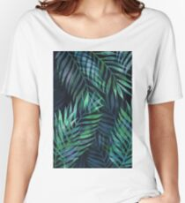 Dark green palms leaves pattern Women's Relaxed Fit T-Shirt