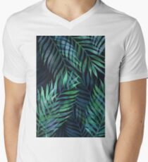 Dark green palms leaves pattern Men's V-Neck T-Shirt