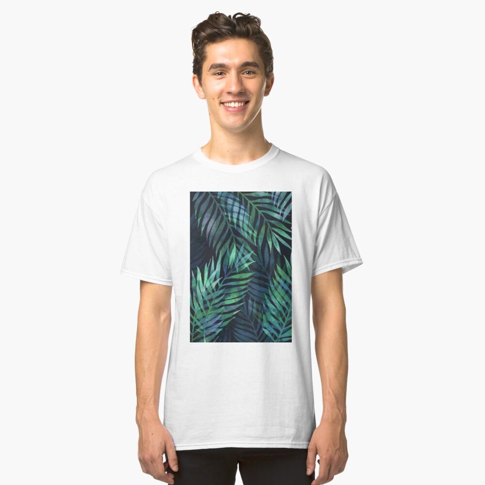 Dark green palms leaves pattern Classic T-Shirt