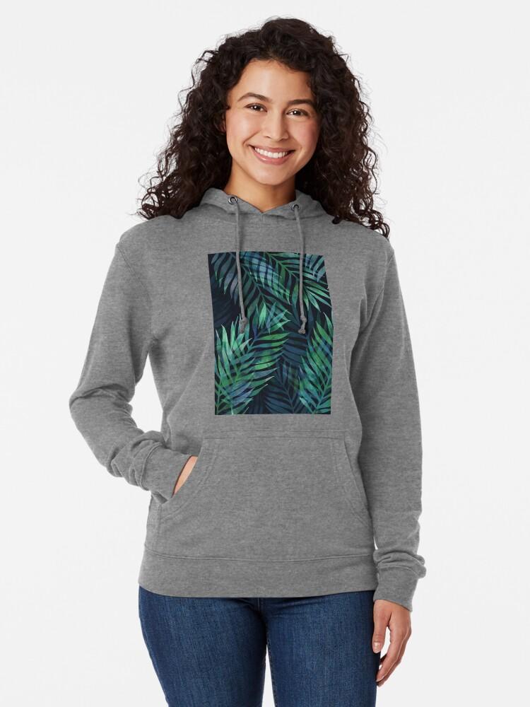 Alternate view of Dark green palms leaves pattern Lightweight Hoodie